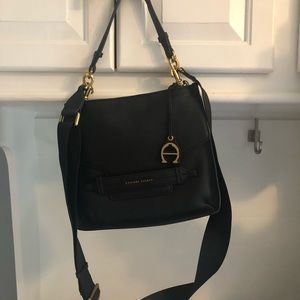 Etienne Aigner black leather crossbody